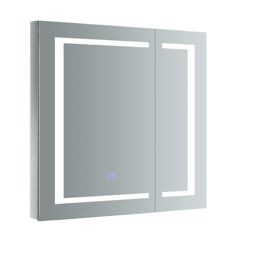 Fresca Spazio 30 in. W x 30 in. H Recessed or Surface Mount Medicine Cabinet with LED Lighting and Mirror Defogger