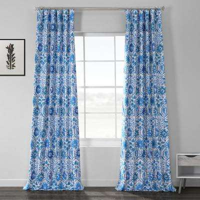 Rio Blue Printed Linen Textured Blackout Curtain - 50 in. W x 108 in. L (1-Panel)