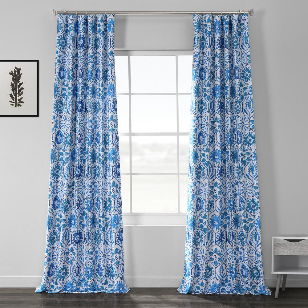 Exclusive Fabrics & Furnishings Rio Blue Printed Linen Textured Blackout Curtain - 50 in. W x 84 in. L (1-Panel)