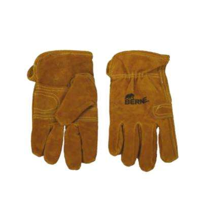 Large Gold Classic Leather Work Gloves (2-Pack)
