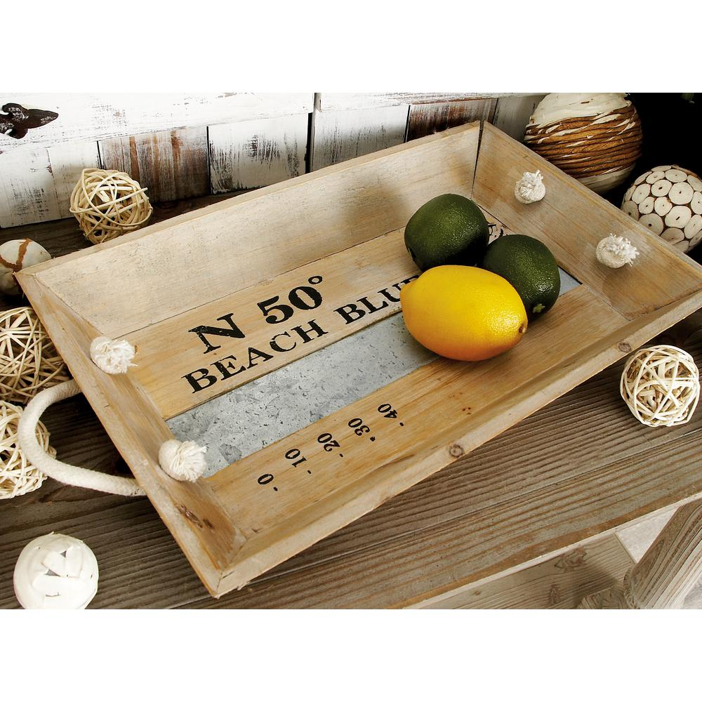 Natural Brown and Gray Decorative Rectangular Trays with White Jute Rope