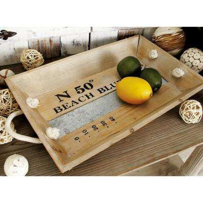 Natural Brown and Gray Decorative Rectangular Trays with White Jute Rope Handles (Set of 2)