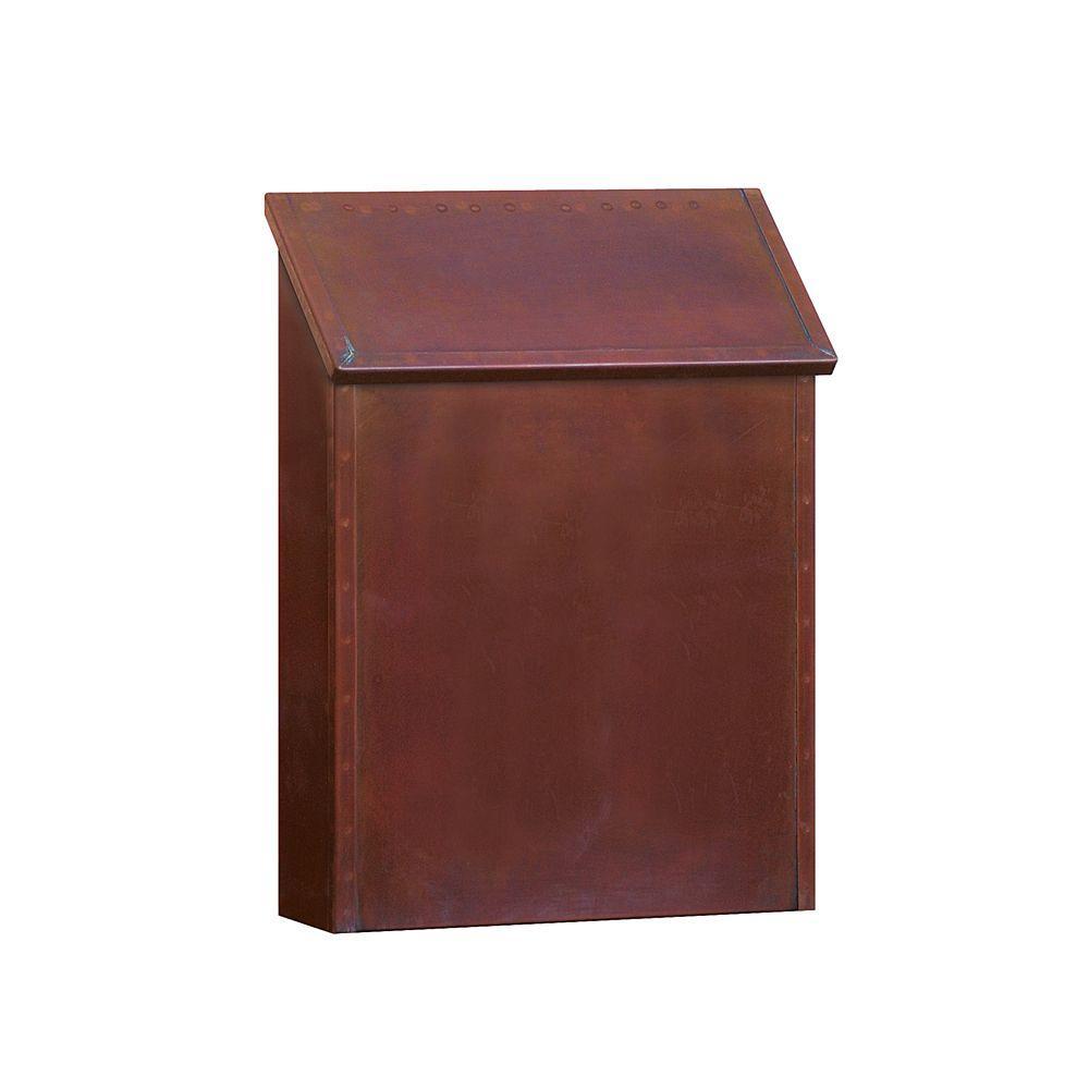 4400 Series Antique Brass Standard Surface-Mounted Vertical Mailbox
