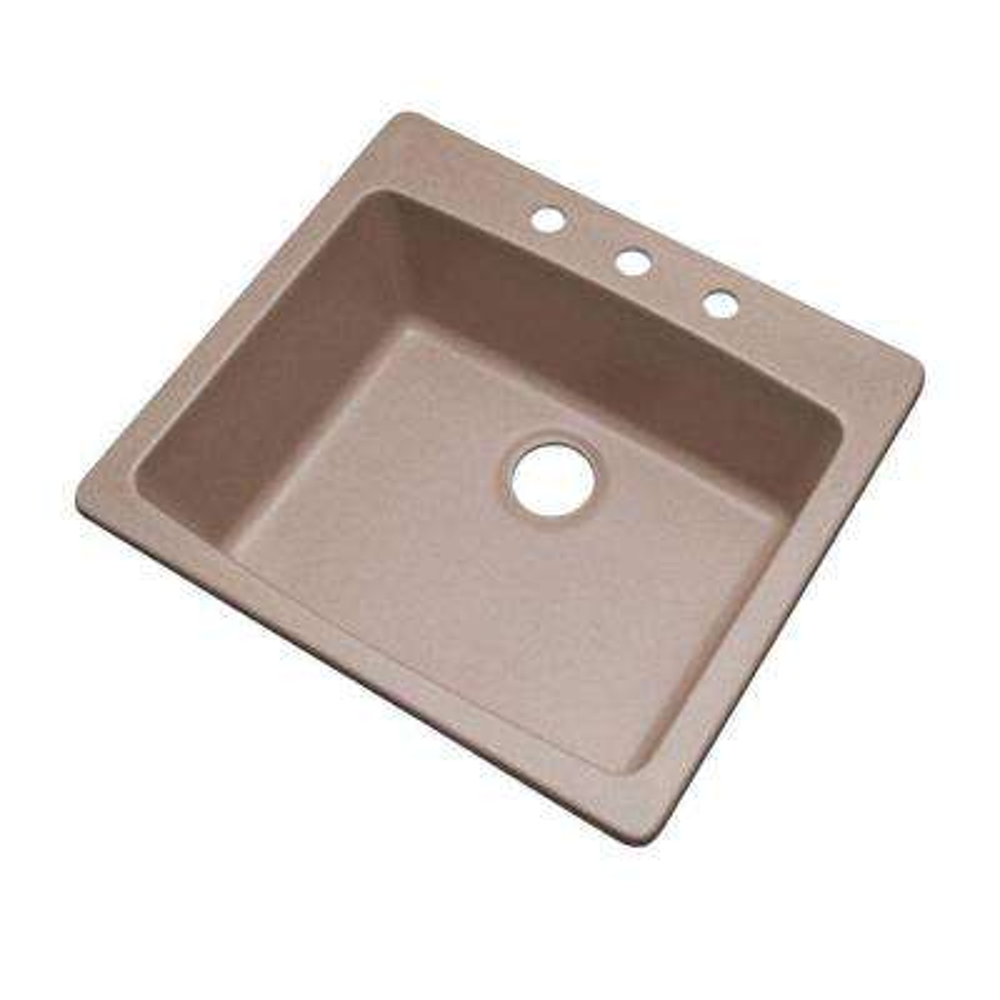 Northbrook Dual Mount Composite Granite 25 in. 3-Hole Single Basin Kitchen Sink in Desert Sand