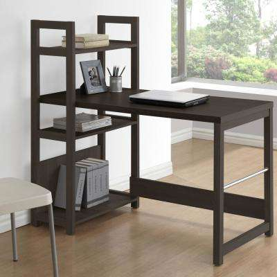 Folio Black Espresso Bookshelf Styled Desk