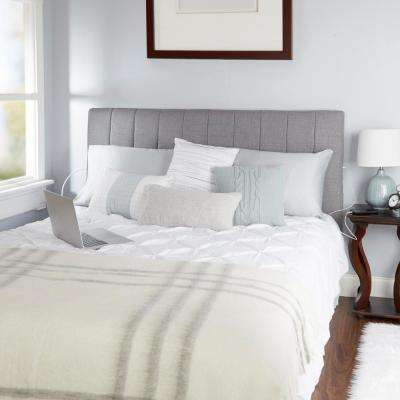 Delilah Channel Tufted Powered Silver Queen Headboard