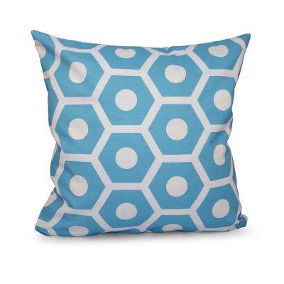 16 in. x 16 in. Honeycomb Geometric Print in Turquoise Pillow
