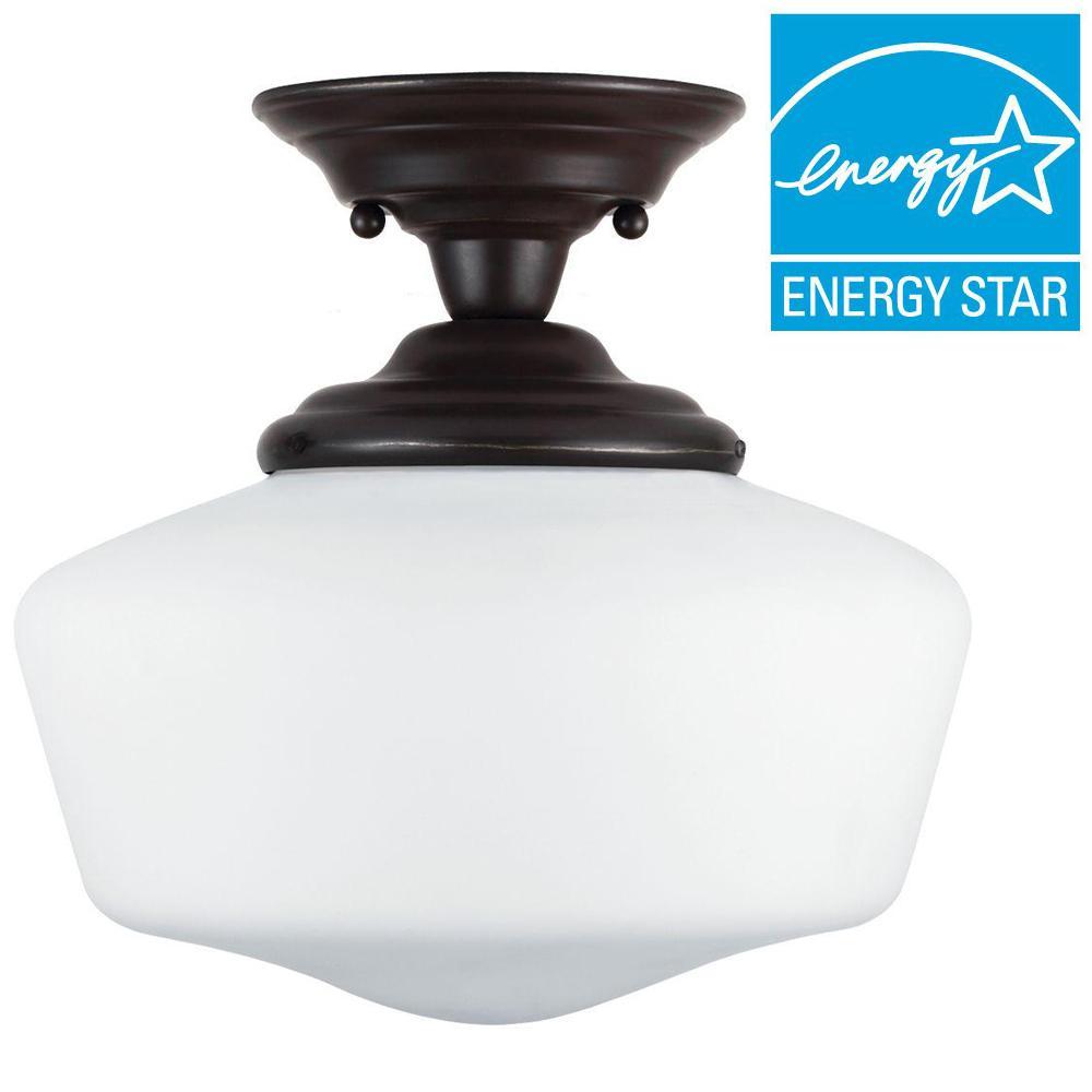Academy 1-Light Heirloom Bronze Semi-Flushmount with LED Bulb