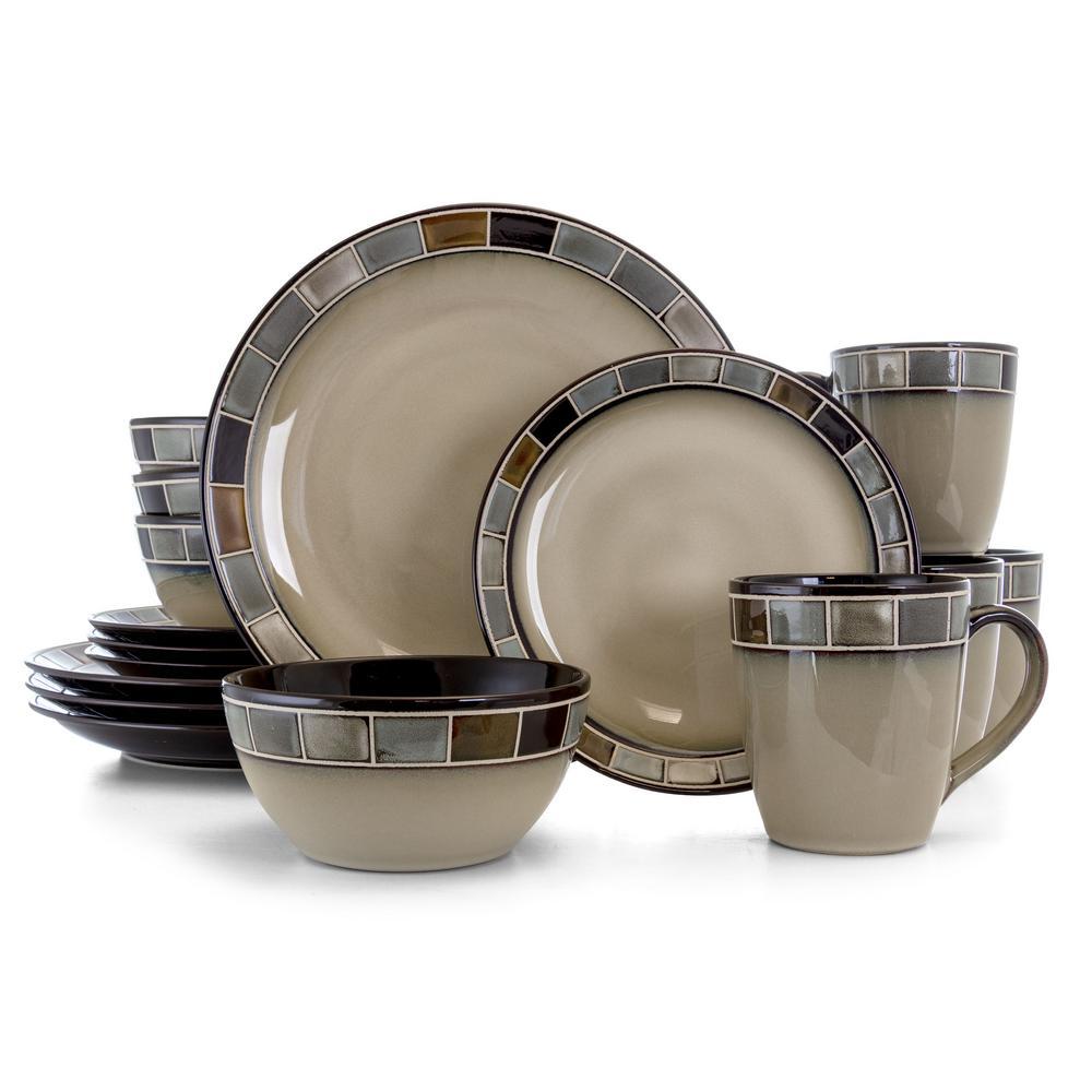 Casa Gris 16-Piece Mission Cream and Gray Reactive Glaze Stoneware Dinnerware Set (Service for 4)