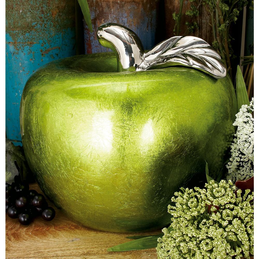 11 in. x 9 in. Modern Emerald Green Ceramic Decorative Apple