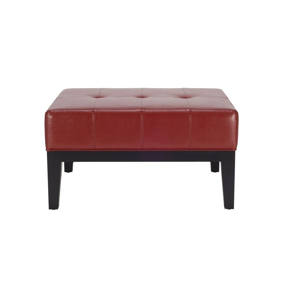 Safavieh Fulton Red Ottoman