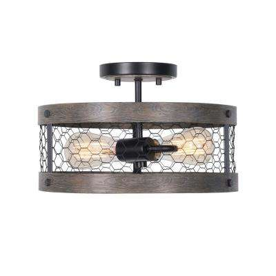 Cozy 2-Light Wood and Oil Rubbed Bronze Semi-Flush Mount Light