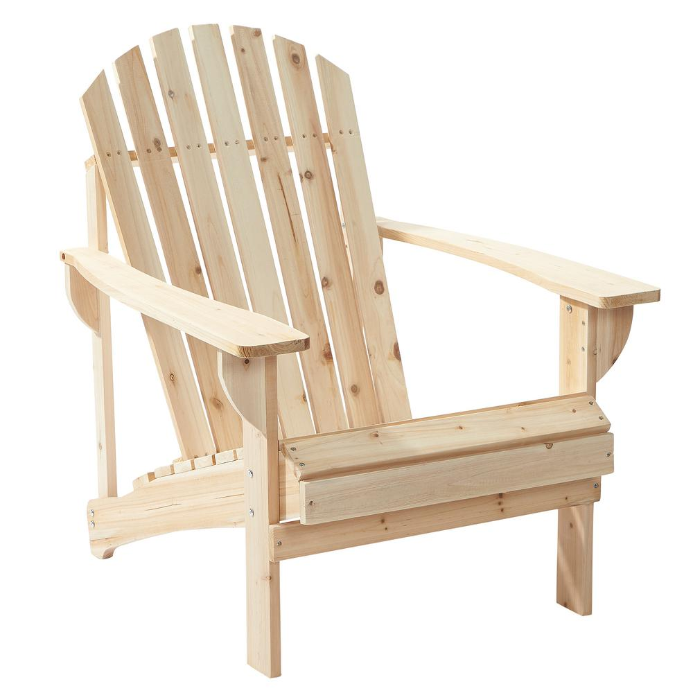 Null Unfinished Stationary Wood Outdoor Adirondack Chair 2 Pack