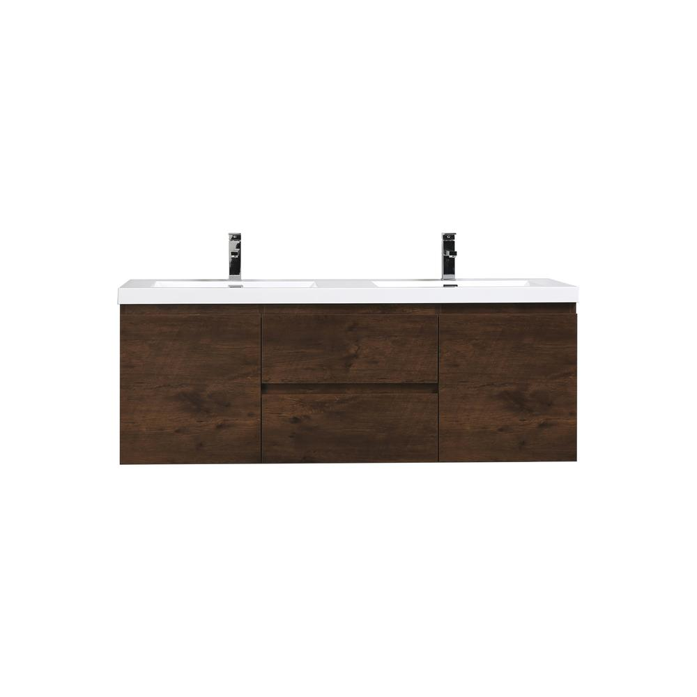 Bohemia 60 in. W Bath Vanity in Rosewood with Reinforced Acrylic Vanity Top in White with White Basins