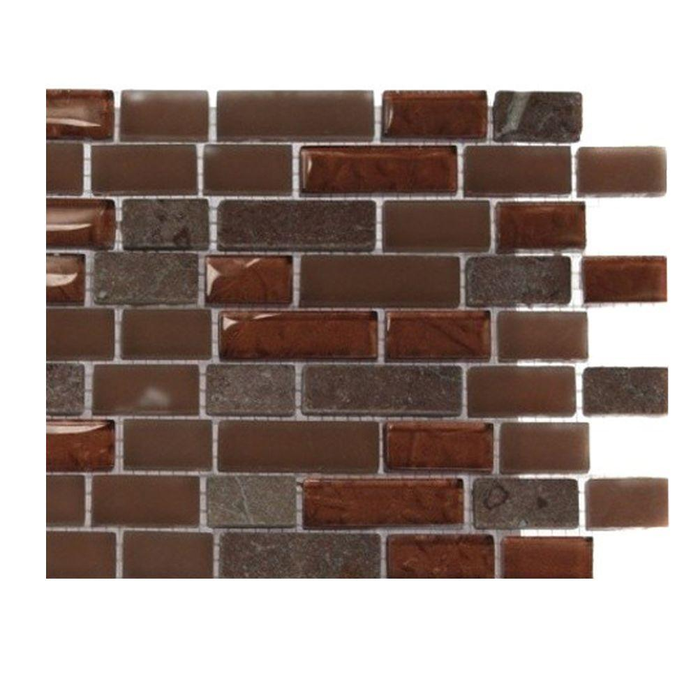 Splashback Tile Penny Pottery Brick Pattern 1/2 in. x 2 in. Marble and Glass Tile - 6 in. x 6 in. Floor and Wall Tile Sample