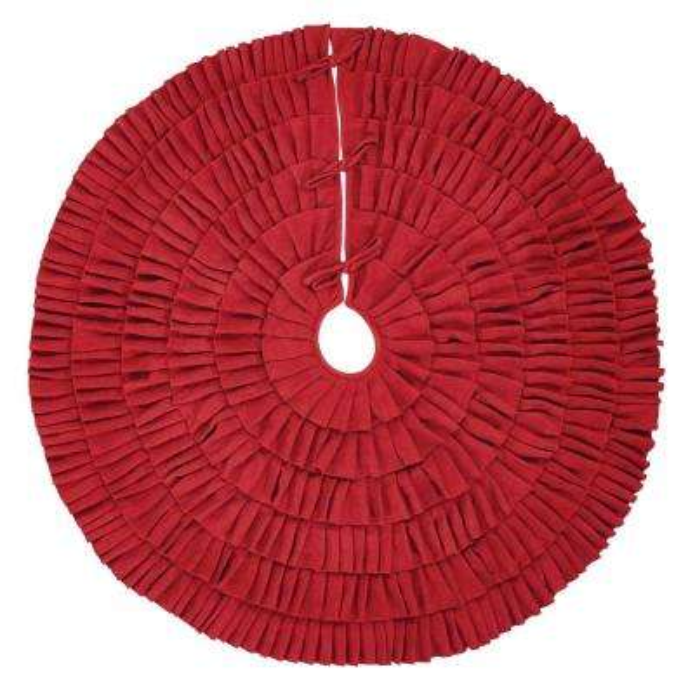 48 in. Red Festive Burlap Farmhouse Christmas Decor Ruffled Tree Skirt