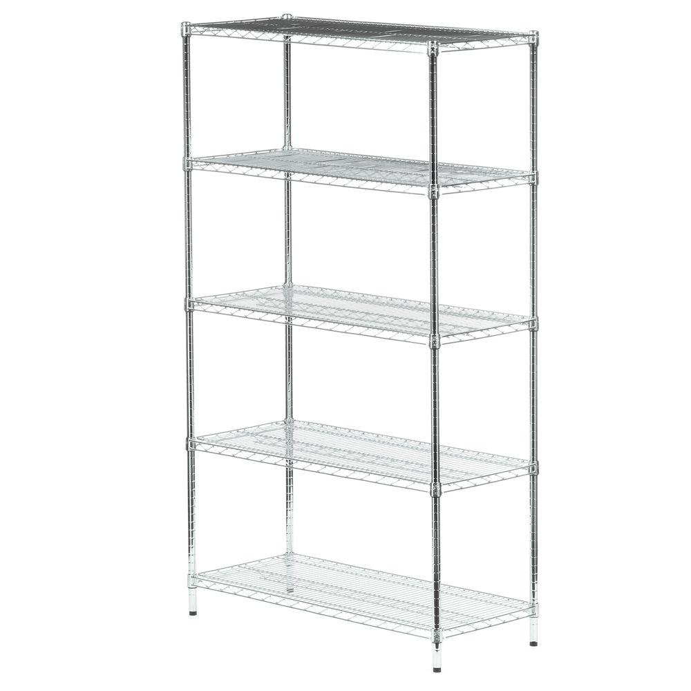 Honey-Can-Do 72 in. H x 42 in. W x 18 in. D 5-Shelf Steel Shelving Unit in Chrome