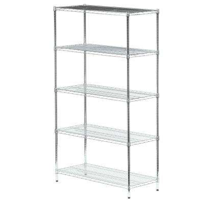 72 in. H x 42 in. W x 18 in. D 5-Shelf Steel Shelving Unit in Chrome