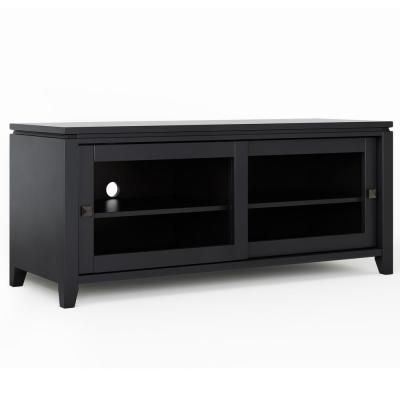 City in Black Solid Wood 48 in. Wide Contemporary TV Media Stand For TVs up to 50 in.