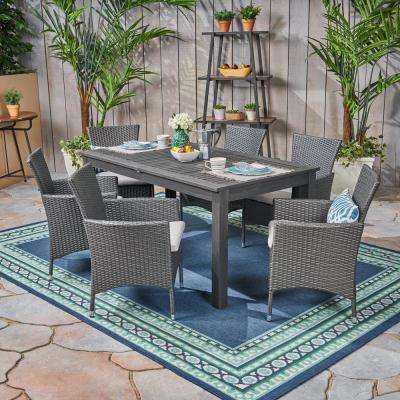 Nadia Grey 7-Piece Wood and Wicker Outdoor Dining Set with Silver Cushions