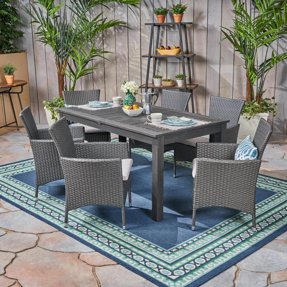 Noble House Nadia Grey 7-Piece Wood And Wicker Outdoor