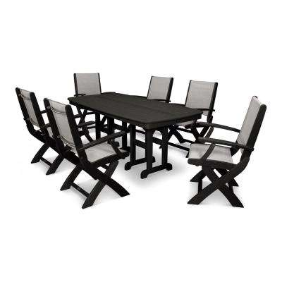 Coastal 7 Piece Plastic Outdoor Patio Dining Set