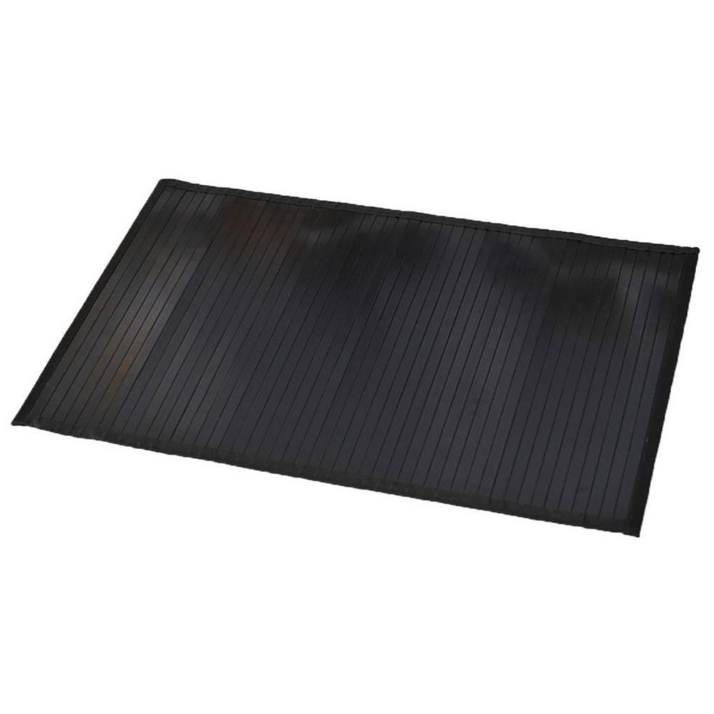 Black 31.5 in. L x 20 in. W Bamboo Rug Bath Mat Anti Slippery