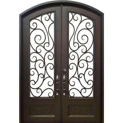 74 in. x 97.5 in. Eyebrow Lauderdale Dark Bronze 3/4 Lite Painted Wrought Iron Prehung Front Door (Hardware Included)
