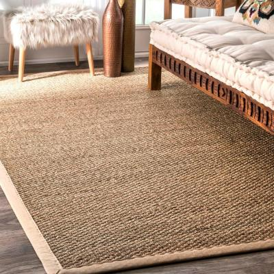 Elijah Seagrass with Border Beige 8 ft. x 10 ft. Area Rug