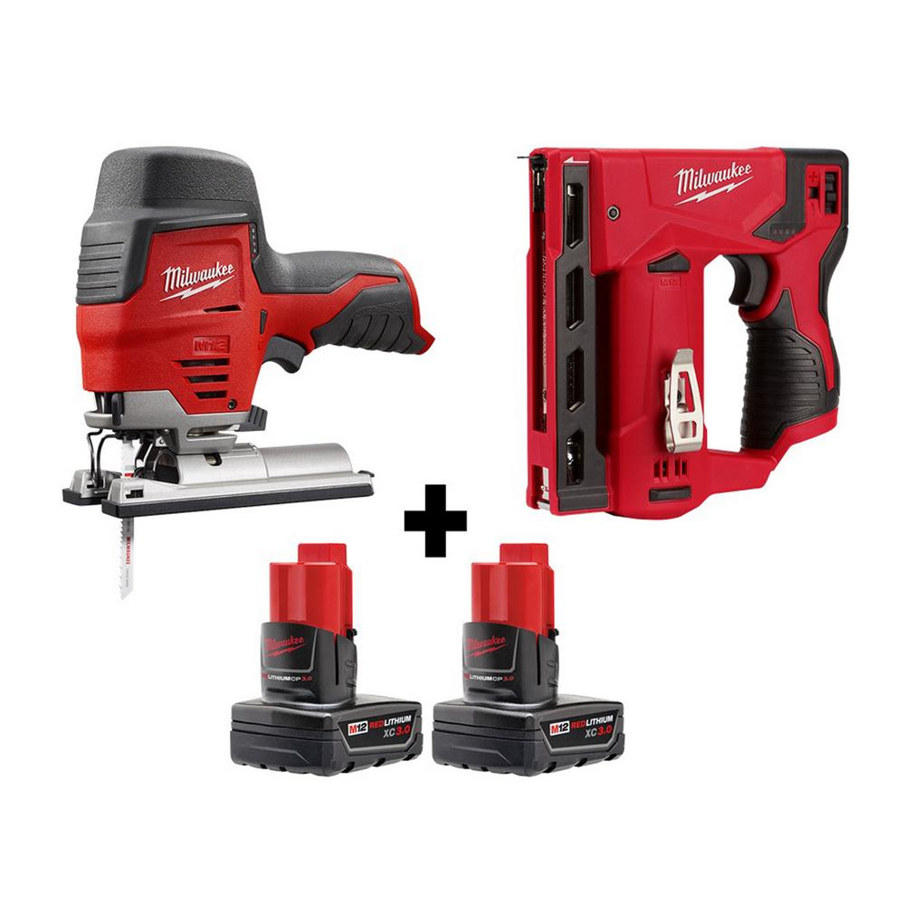 Milwaukee M12 12-Volt Lithium-Ion Cordless Jig Saw and Crown Stapler w/ two 3.0 Ah Batteries