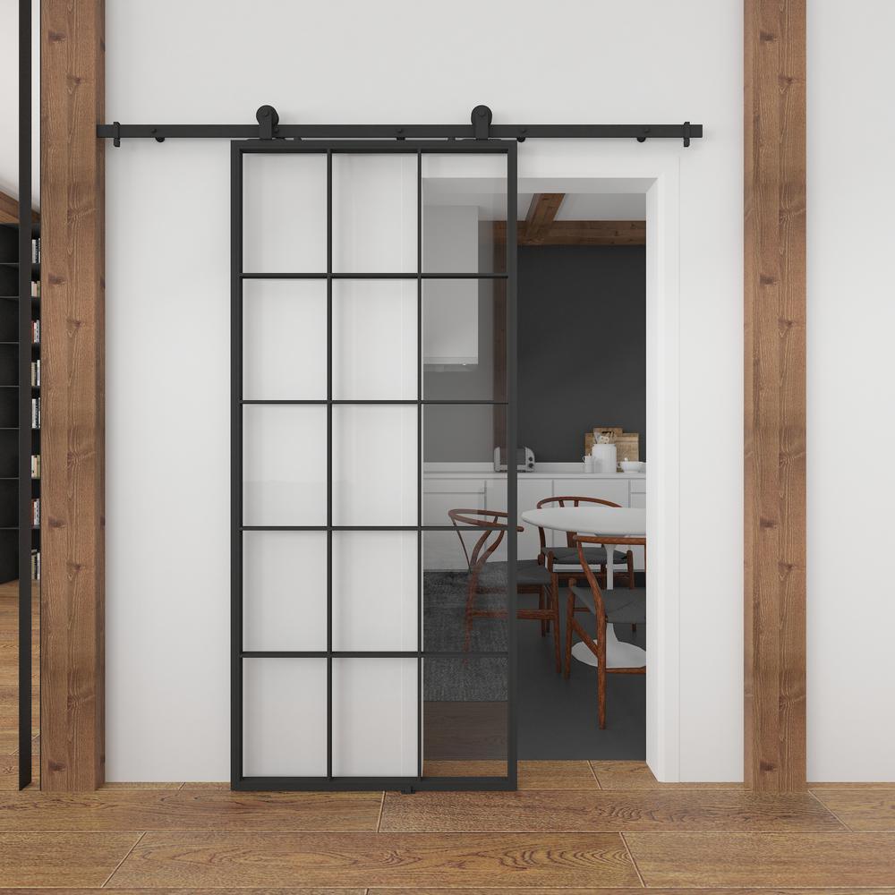 Indoor Studio Queen S 37 In X 84 In Full 15 Lite Clear Glass Black Metal Sliding Barn Door With Hardware Kit Kmctqnc 37bl E The Home Depot