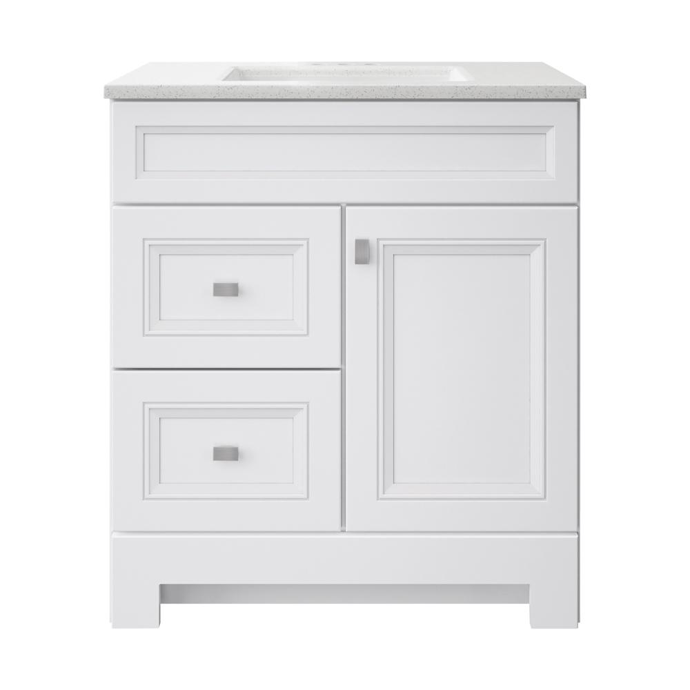 Home Decorators Collection Sedgewood 30-1/2 in. W Bath Vanity in White with Solid Surface Technology Vanity Top in Arctic with White Sink