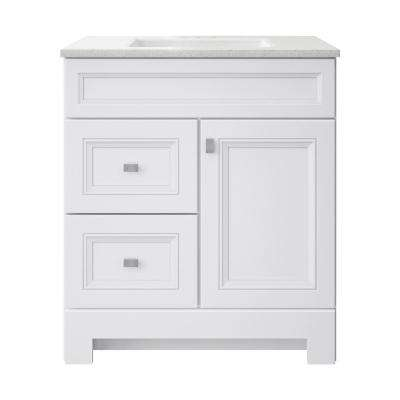 Sedgewood 30-1/2 in. W Bath Vanity in White with Solid Surface Technology Vanity Top in Arctic with White Sink