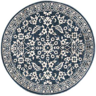 Carolina Dark Blue 5 ft. 1 in. x 5 ft. 1 in. Round Area Rug