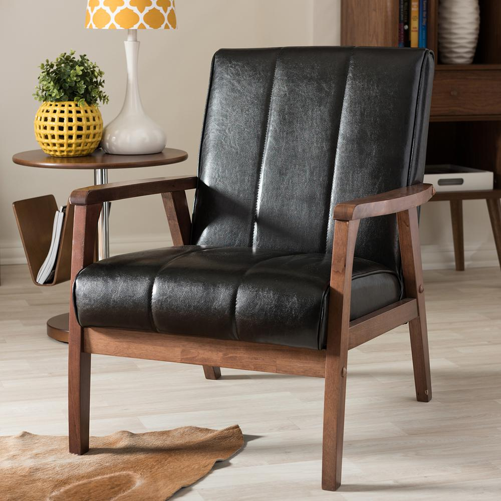 baxton studio nikko black faux leather upholstered accent chair