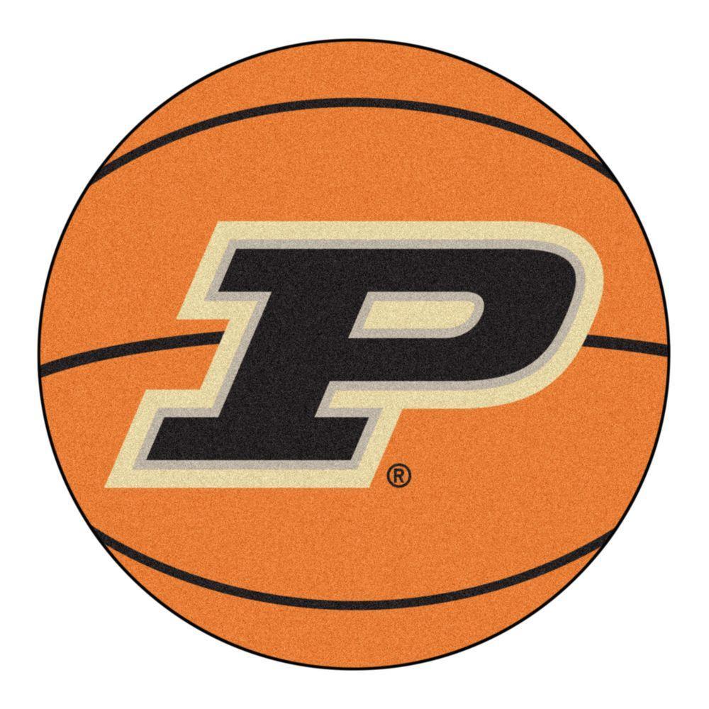 NCAA Purdue University P Logo Orange 2 ft. x 2 ft. Round Area Rug