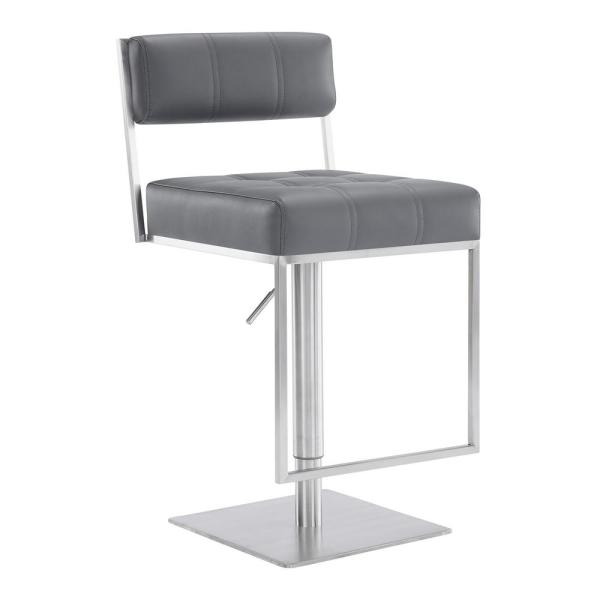 Armen Living Blossom Contemporary Adjustable 35-44 in. Swivel Barstool in Brushed Stainless Steel and Grey Faux Leather