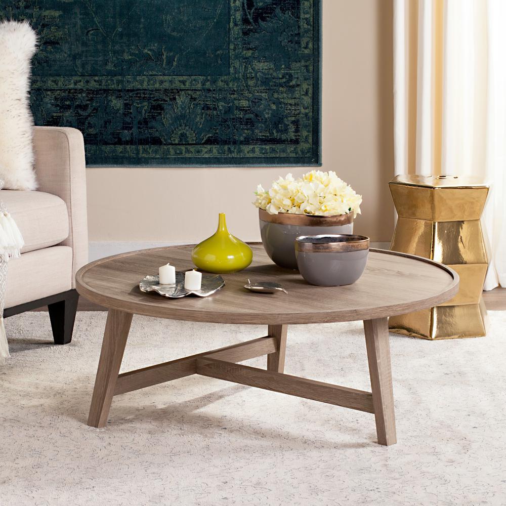 Safavieh Malone Retro Mid Century Wood Light Gray Coffee Table
