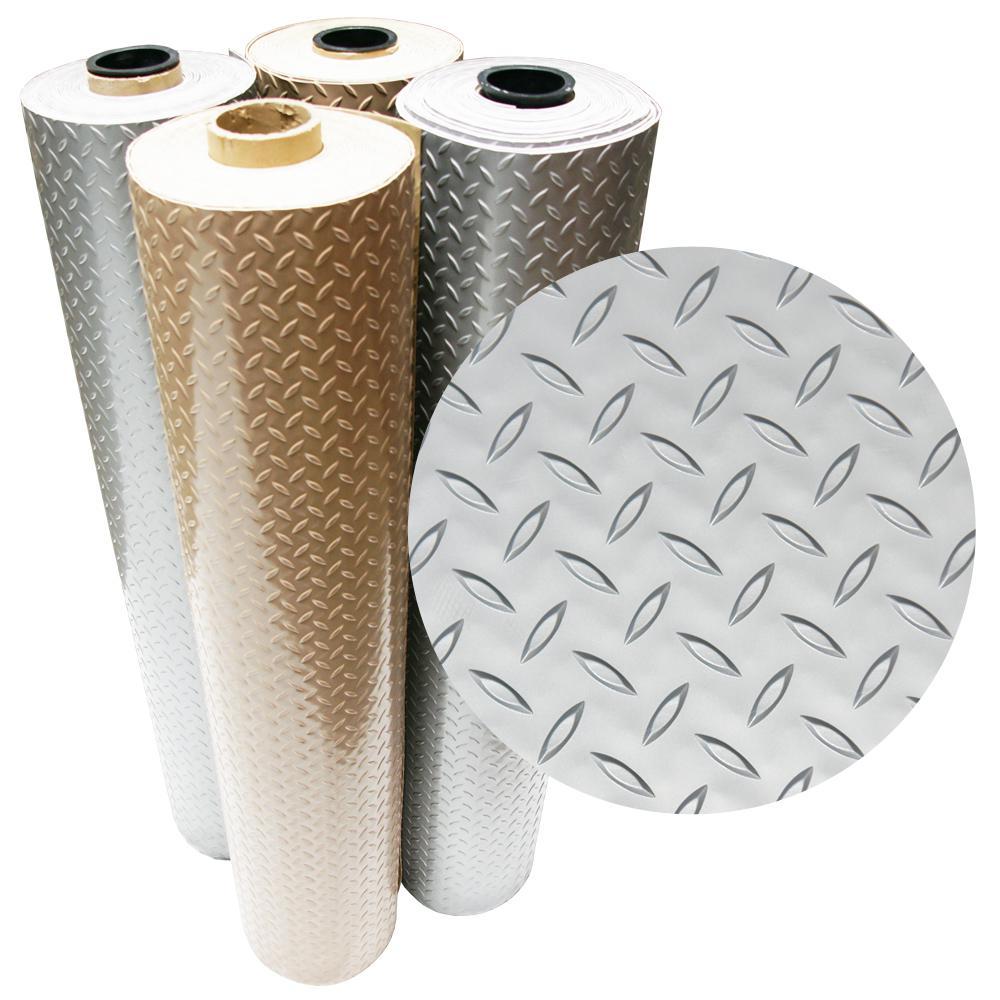 Diamond-Plate Metallic 4 ft. x 10 ft. Silver PVC Flooring (40 sq. ft.)