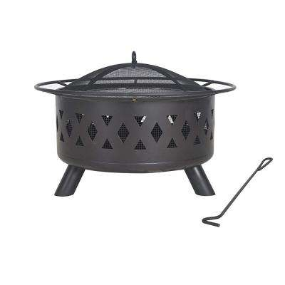 15 in. H x 28 in. Round Wood Burning Fire Pit in Black