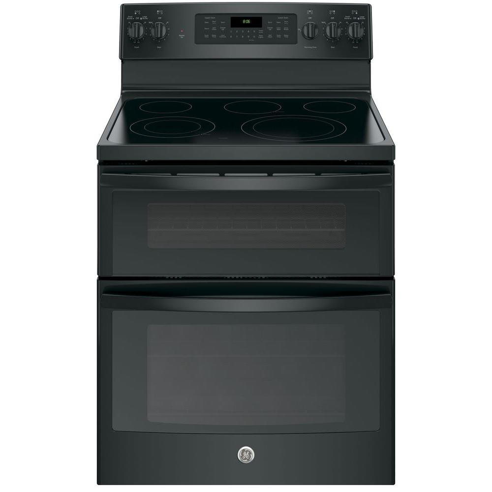 GE 6.6 cu. ft. Double Oven Electric Range with Self-Cleaning and Convection Lower Oven in Black