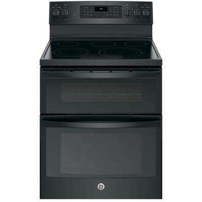 6.6 cu. ft. Double Oven Electric Range with Self-Cleaning Convection Oven (Lower Oven Only) in Black