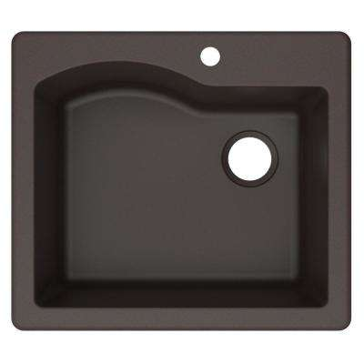 Quarza Drop-in/Undermount Granite Composite 25 in. 1-Hole Single Bowl Kitchen Sink in Brown