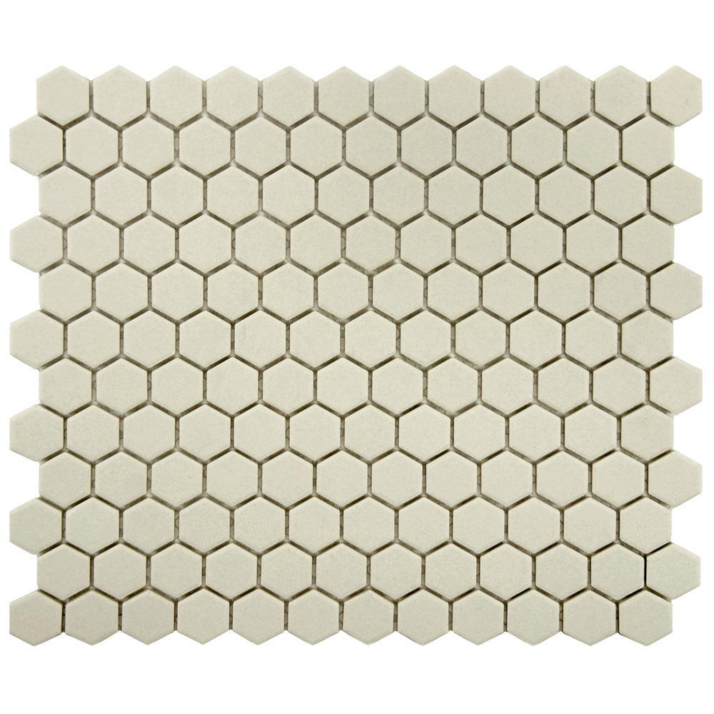 Gotham Hex Antique White 10-1/4 in. x 12 in. x 5 mm Porcelain Unglazed Mosaic Tile (8.54 sq. ft. / case)