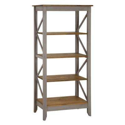 Jay 31.5 in. Gray Wash Solid Wood Bookcase with 4-Shelves