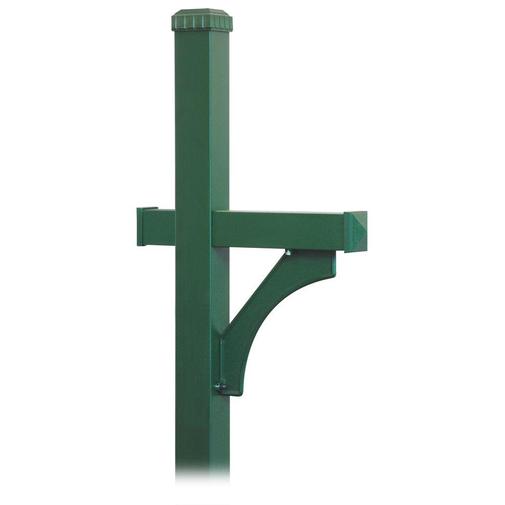 Deluxe 1-Sided In-Ground Mounted Mailbox Post for Roadside Mailbox in Green