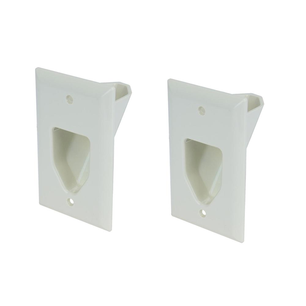 Commercial Electric 1-Gang Recessed Cable Plate, White (2...