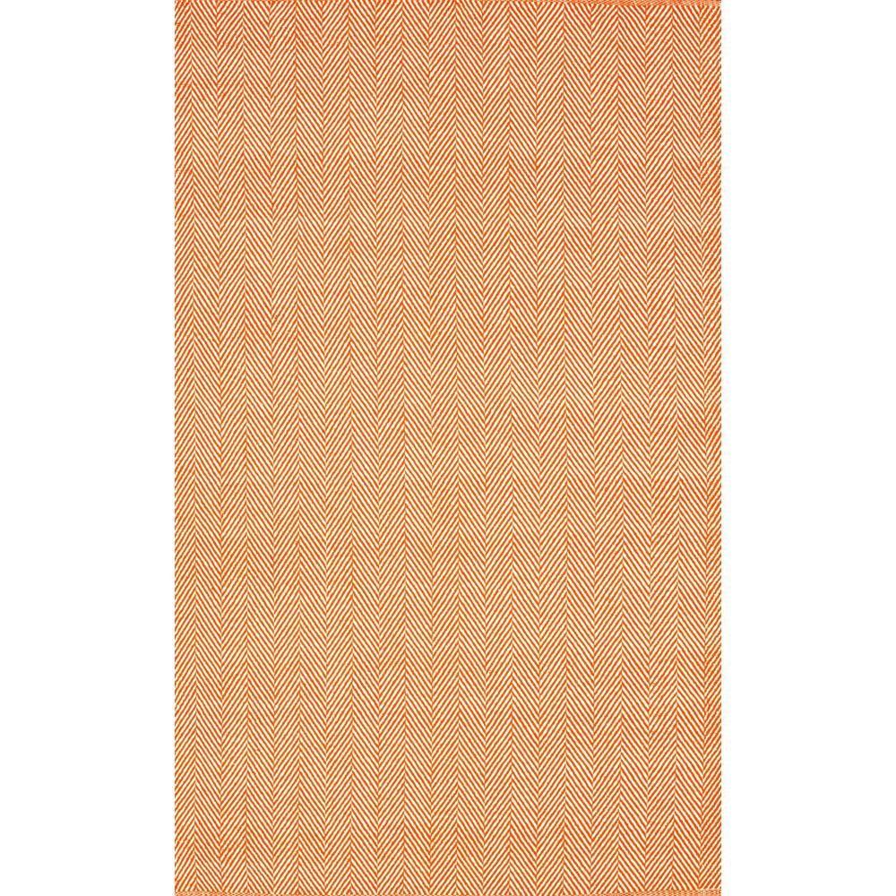 Herringbone Cotton Orange 9 ft. x 12 ft. Area Rug