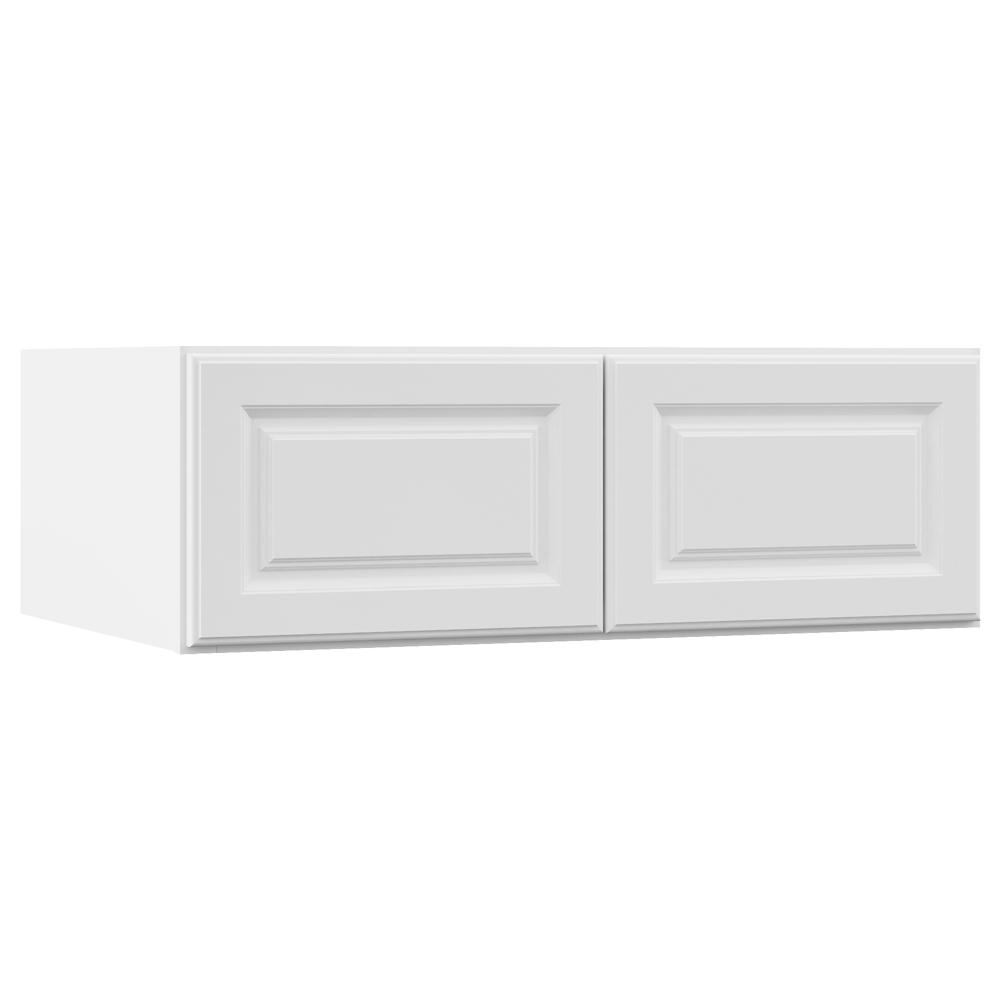 Hampton Bay Hampton Assembled 36x12x24 In. Above Refrigerator Deep Wall  Bridge Kitchen Cabinet In Satin