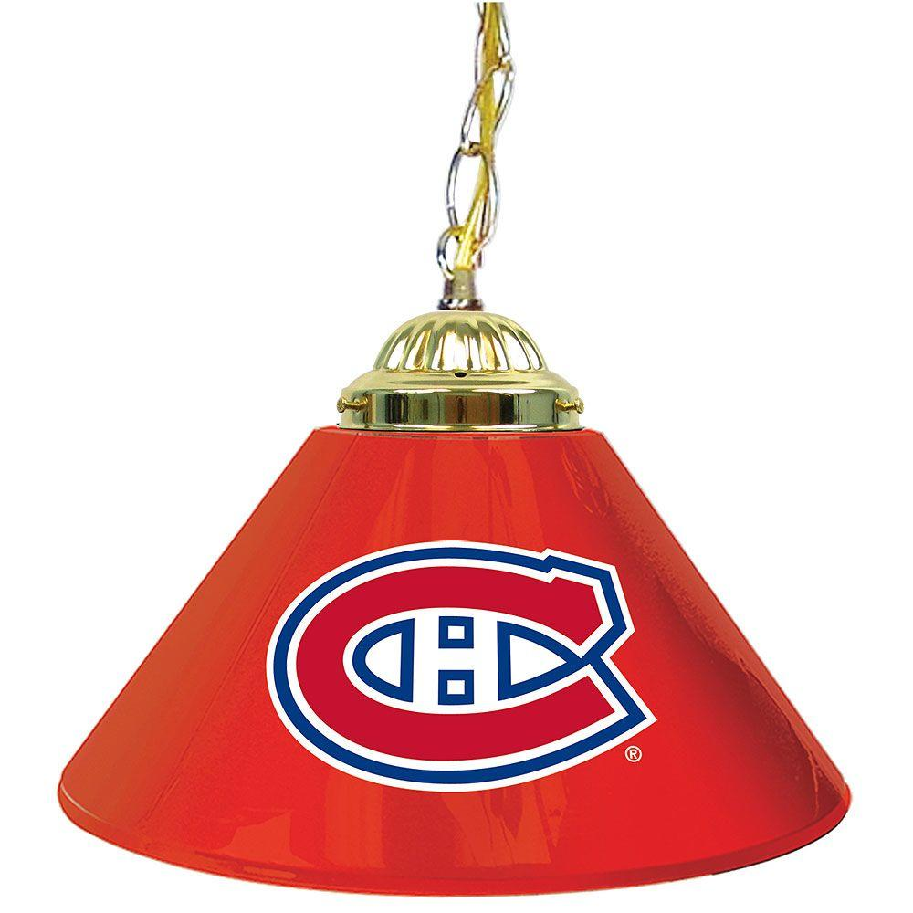 null NHL Montreal Canadiens 14 in. Single Shade Stainless Steel Hanging Lamp